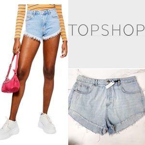 TOPSHOP Kiri Cutoff High Waist Jean Shorts Size 12
